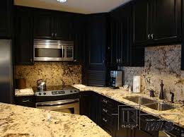Granite With Cherry Cabinets In Kitchens Dh Wants Cherry Cabinets Black Countertops Black Appliances