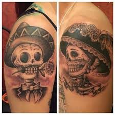 collection of 25 couples skull tattoos