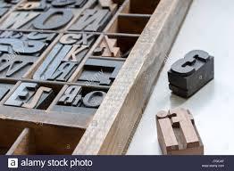 old letterpress printing blocks in printers tray