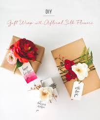 How To Wrap Wedding Gifts - diy gift wrap with silk flowers from afloral green wedding