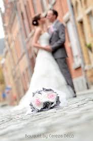 mariage original bouquet mariage original tissu blanc gris argent
