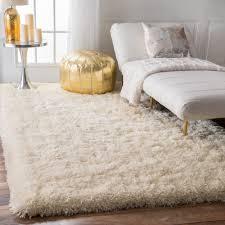 nuloom solid soft and plush white grey shag rug 7 u00276 x 9 u00276 by