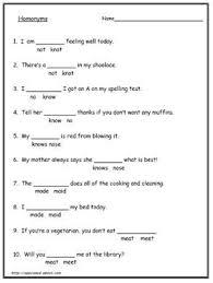 homonyms homophone worksheets