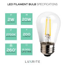 6 pack luxrite led filament bulb s14 2w bulb to replace 20w