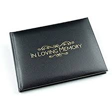 black guest book in loving memory condolence book open format inner