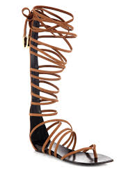 giuseppe zanotti leather gladiator laceup sandal boots in brown lyst