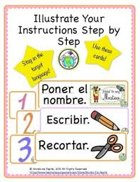printable instructions classroom illustrated instruction cards classroom decor printable spanish
