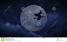 background halloween video halloween witch sitting witch on a broom passing on the full moon