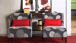 red accent chair living room funiture grey fabric upholstered armless accent chairs with red