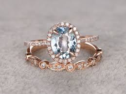 aquamarine wedding rings aquamarine bridal ring set diamond wedding band gold deco