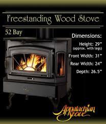 appalachian 52 bay freestanding wood stove fireplace ebay