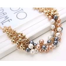gold plated beads necklace images Extravagant rounded pearl and gold plated beads necklace jewelry jpg
