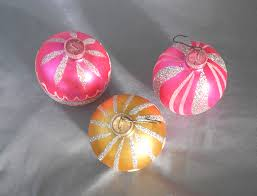 vintage germany trio of glass ornaments pink and gold