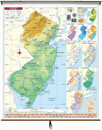 Map Of Jersey City New Jersey State Intermediate Thematic Wall Map On Roller W