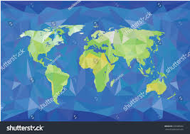 World Physical Map by World Map Polygonal Style Green On Stock Vector 226380202
