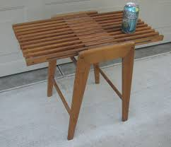 Modern Teak Outdoor Furniture by Danish Modern Slat Table Bench Magazine Rack Japan Mid Century
