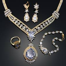 free set bracelet images Big style luxury 4 pieces jewelry sets for wedding party jpg