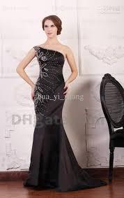 2015 black satin mermaid prom dresses one shoulder beaded