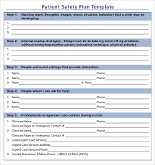 safety plan template mental health safety plan template program