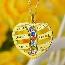 best name necklace gold color engraved heart family name necklace birthstones kids