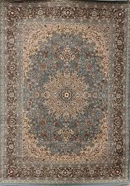 Area Wool Rugs New City Light Blue Silver Traditional Isfahan Wool