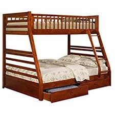 amazon com twin full size bunk bed with storage drawers in cherry