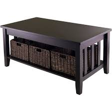 Walmart End Tables And Coffee Tables Morris Coffee Table With 3 Baskets Espresso Walmart Com