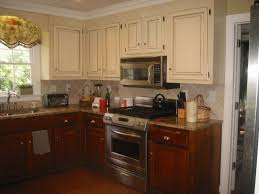 awesome two tone kitchen cabinets with wood and white color plus