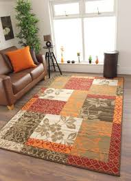 Area Rugs Uk Cheap Warm Burnt Orange Brown Cosy Patchwork Milan