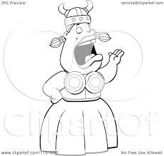 cartoon clipart of a black and white singing opera viking woman