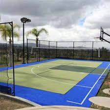 How Much Does A Backyard Basketball Court Cost Home Basketball Court Backyard Tennis Courts Basketball Court