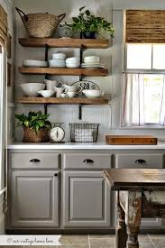 Distressed Wood Kitchen Cabinets Grey Kitchen Cabinets Open Shelving Love Home Is Here