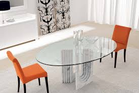 Round Glass Dining Table Wood Base Table Oval Glass Dining Table Set Scandinavian Expansive Oval