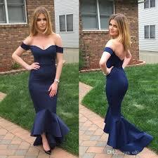 chic navy blue off the shoulder mermaid prom dresses 2017 custom