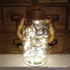 stars in a jar shabby chic led bottle lamp with handle u0026 jute