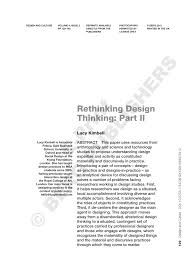 rethinking design thinking part ii pdf download available