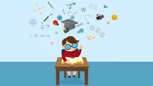 cartoon animation of a student is reading education book on