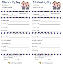 daily report sheet template child care daily reports printable forms childfun