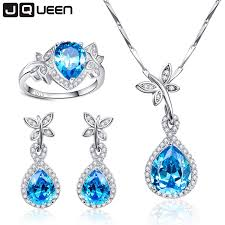 sterling silver rings necklace images Wedding jewelry sets for brides 925 sterling silver blue topaz jpg