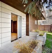 back of small contemporary house in swiss style design home