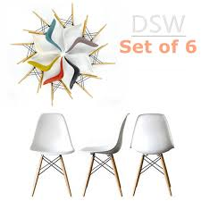 set of 6 eames dsw replica eiffel dining chair white