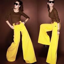 spring autumn fashion designer womens culottes yellow wide leg