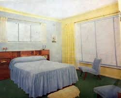 50s Bedroom Furniture by 1950s Bedroom With A Chenille Bedspread And Green Feltex On The