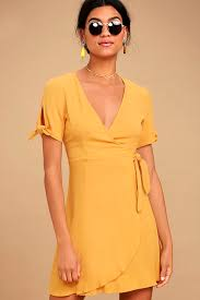 yellow dress yellow dress wrap dress sleeve dress 52 00