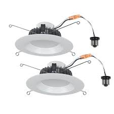 lowes retrofit recessed light shop utilitech pro 2 pack 65 watt equivalent white dimmable led