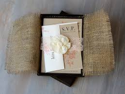 boxed wedding invitations burlap and lace boxed wedding invitations rustic chic wedding