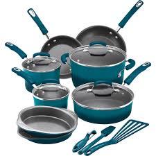 stylish kitchenware rachael ray 15 piece hard enamel nonstick cookware set walmart com