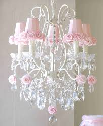 Nursery Chandelier 5 Light Chandelier With Pink Rose Shades By A Vintage Light