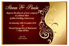 wedding anniversary invitations wedding anniversary invitation rectangle landscape gold floral