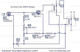 automatic headlight dim switch electronic circuits and diagram